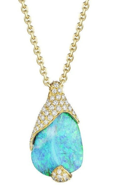 Mimi So's ZoZo Boulder Opal and Pave Diamond Necklace 18kt Yellow Gold. This baby is set with a 7.20 carat boulder opal and .38 carats of pave diamonds. Via Diamonds in the Library.