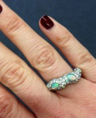 Mimi So's ZoZo opal and diamond pave ring. 1.38 cts of opals and 1.87 cts of diamonds set in white gold. Via Diamonds in the Library.