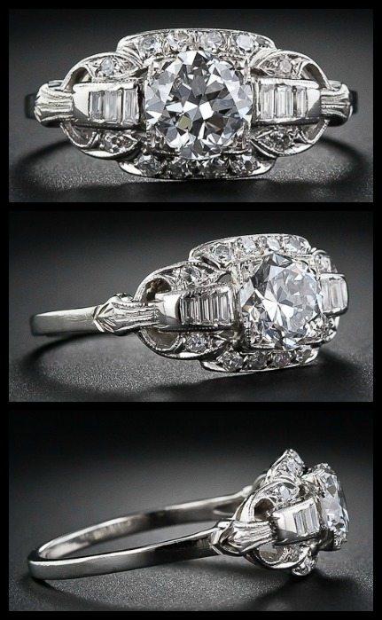 Art Deco diamond ring with 1.13 carat European cut diamond. Via Diamonds in the Library.