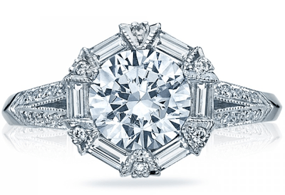 Round and baguette diamond wreath engagement ring from Tacori's Simply Tacori collection. Via Diamonds in the Library.