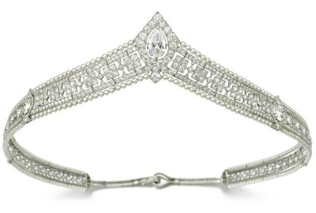 Seed pearl and diamond bandeau tiara, circa 1915. Via Diamonds in the Library.