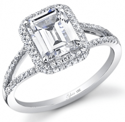 Sylvie collection's Style #SY289 double halo, split-shank engagement ring with emerald-cut center stone