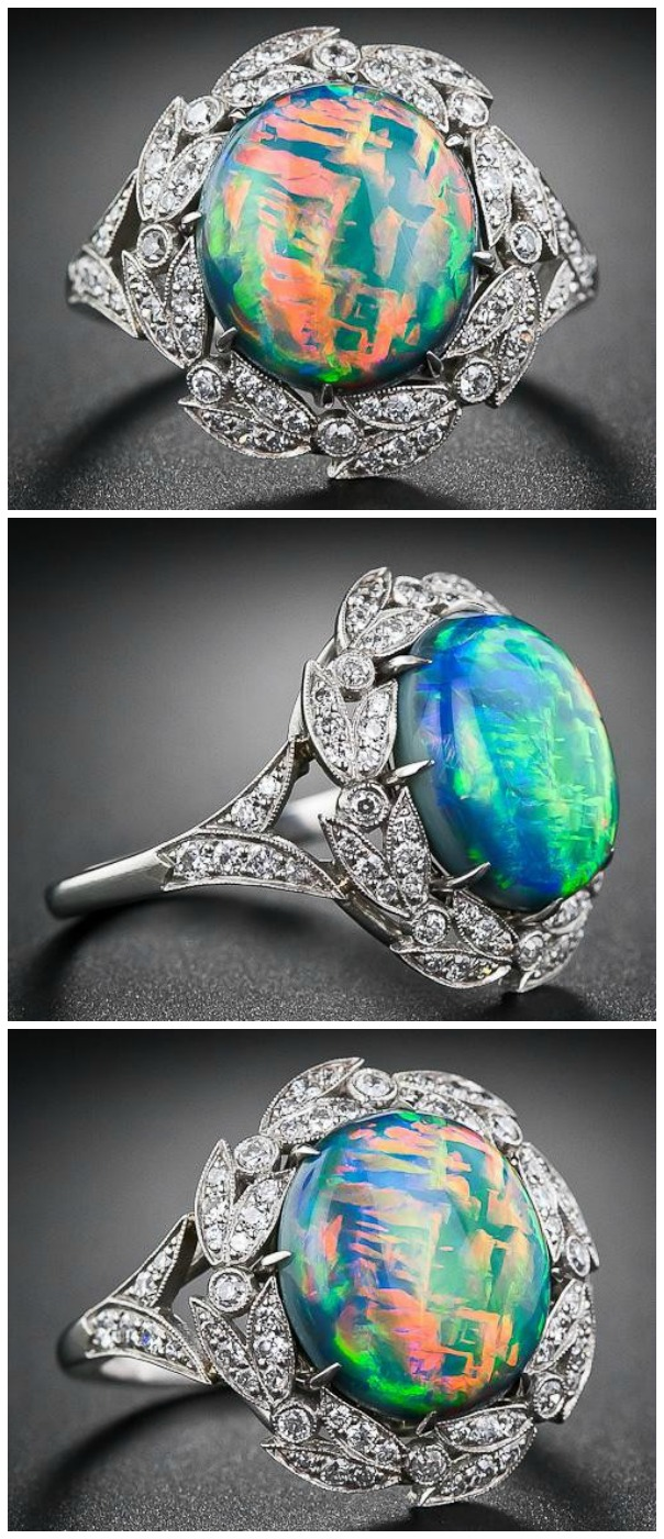 A fire opal and diamond ring from Lang Antiques.