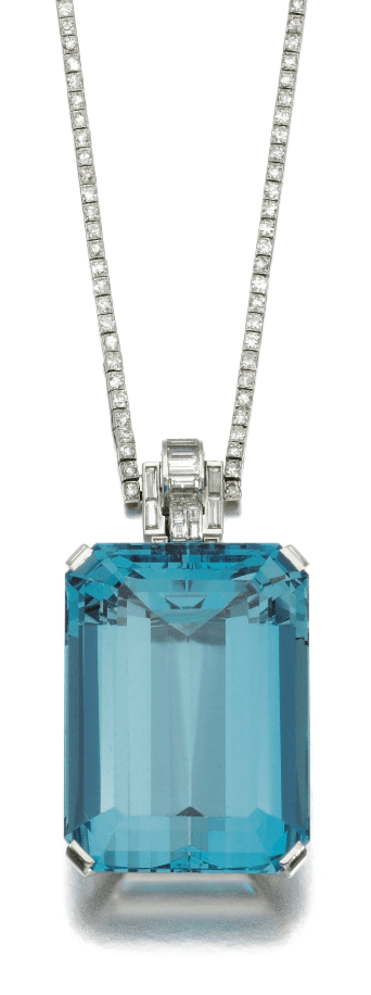 An Art Deco aquamarine and diamond necklace, Trabert & Hoeffer, Inc and Mauboussin. 1930's. Via Diamonds in the Library.