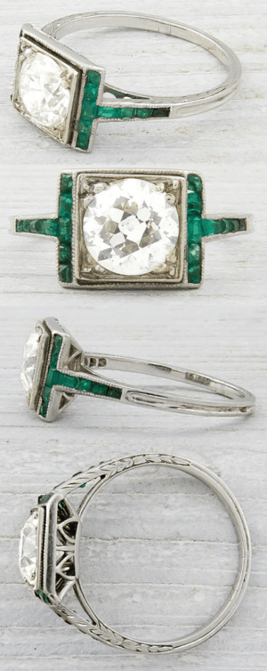 Antique Art Deco engagement ring with calibre emerald accents and a 1.20 carat old European cut diamond. Via Diamonds in the Library.