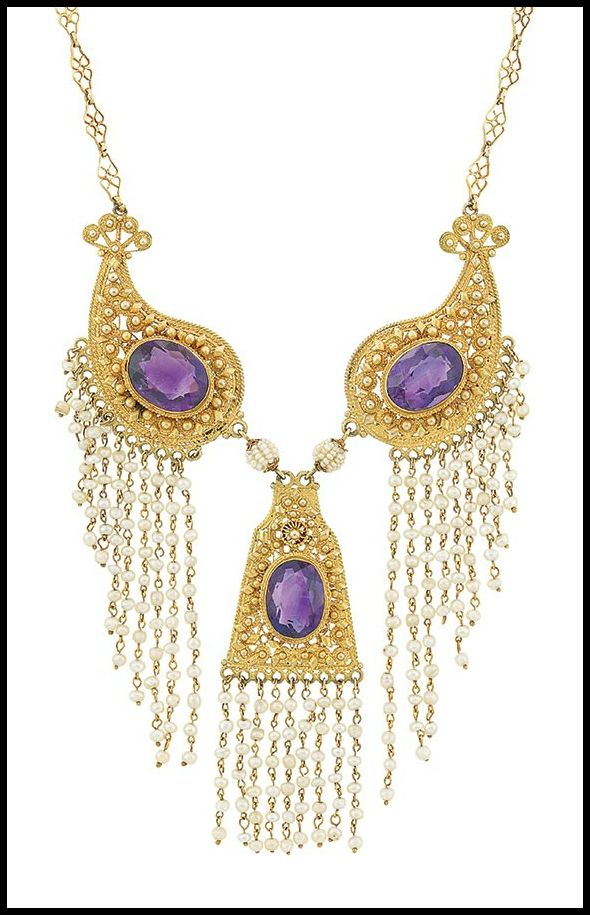 Antique gold, amethyst, and seed pearl fringe necklace, circa 1900.