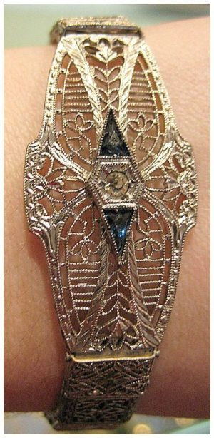Art Deco filigree bracelet from The Antique Guild in Old Town Alexandria, VA.