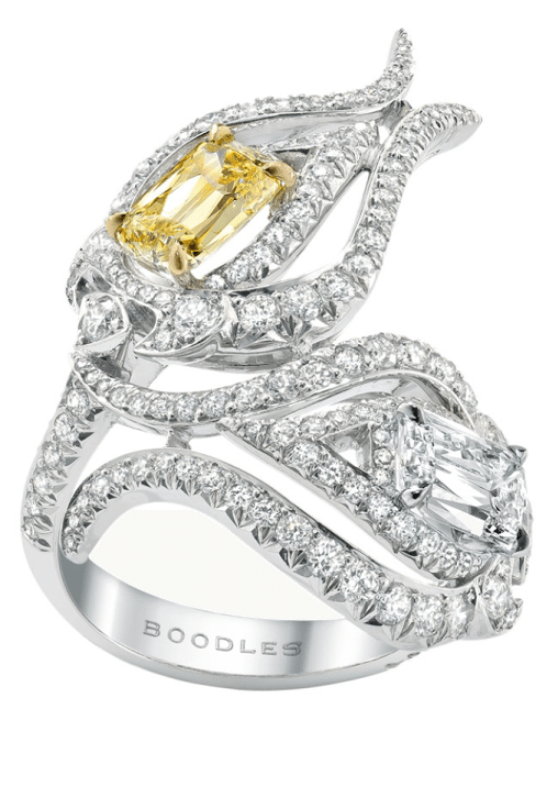 Boodles Damask Rose ring with Ashoka-cut diamonds (one intense yellow diamond, one white) set within swirls of round-brilliant cut diamonds. Via Diamonds in the Library.