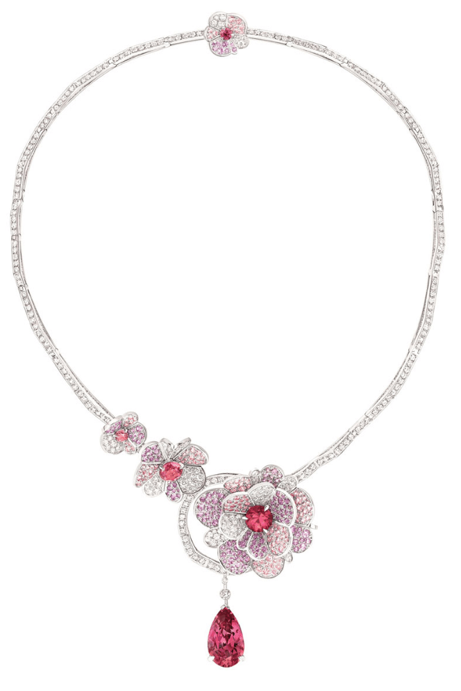 Camélia Origami necklace from the Chanel Jardin de Camélias collection. White gold set with diamonds, pink and purple sapphires, and pink spinels. Via Diamonds in the Library.