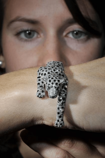 Cartier made the Duchess of Windsor's famous panther bracelet in 1952. As this image shows, the panther is fully articulated for movement.