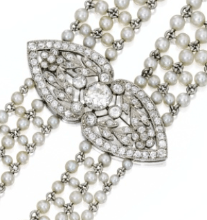 Detail - Edwardian seed pearl and diamond sautoir, J.E. Caldwell. Circa 1905. Via Diamonds in the Library.