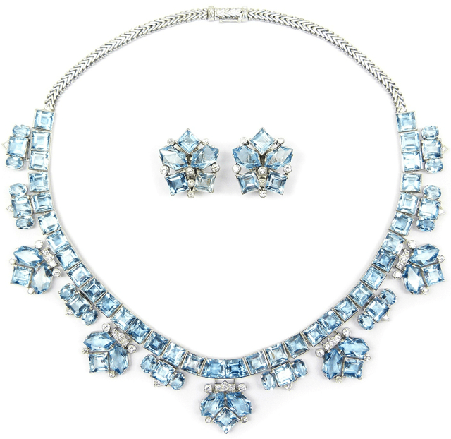 Diamond and aquamarine suite, by Cartier. Circa 1940. Via Diamonds in the Library.