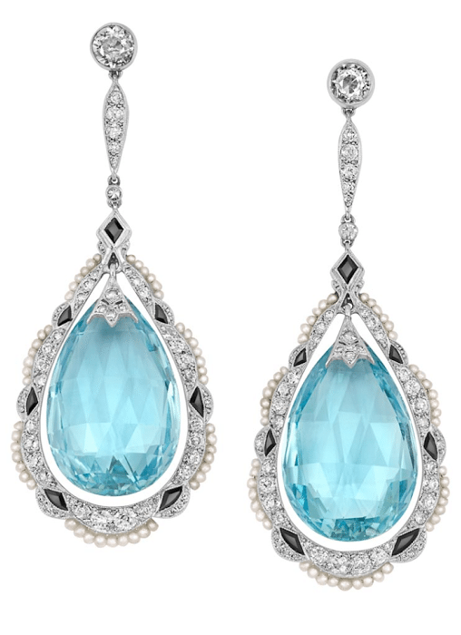 Edwardian aquamarine, diamond, pearl, and onyx earrings, circa 1915. Via Diamonds in the Library.