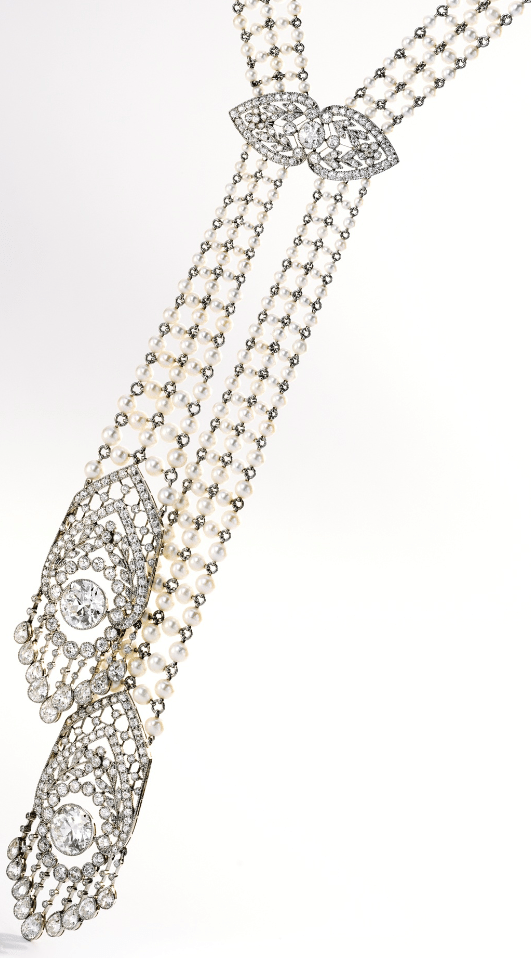 Edwardian seed pearl and diamond sautoir, J.E. Caldwell. Circa 1905. Via Diamonds in the Library.