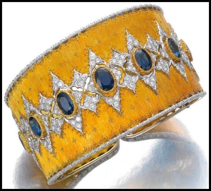 Gold, sapphire and diamond bangle, Buccellati. Via Diamonds in the Library.