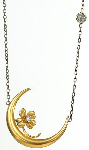 Honeymoon pendant from the Estate of Grace Collection, originally a 14k gold Victorian stickpin of a moon with a diamond-studded flower perched on top of its crescent.