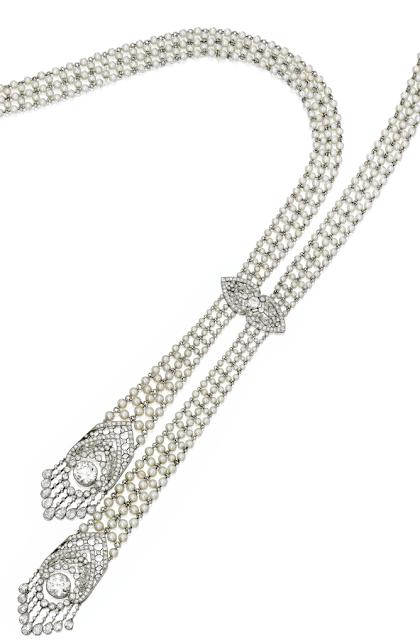 Long view - Edwardian seed pearl and diamond sautoir, J.E. Caldwell. Circa 1905. Via Diamonds in the Library.