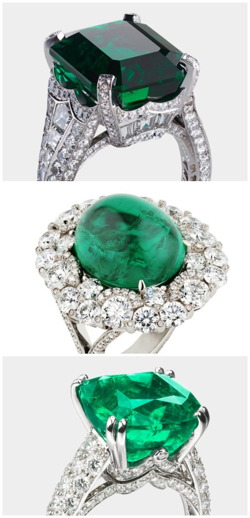 Three stunning emerald and diamond rings by Fabergé