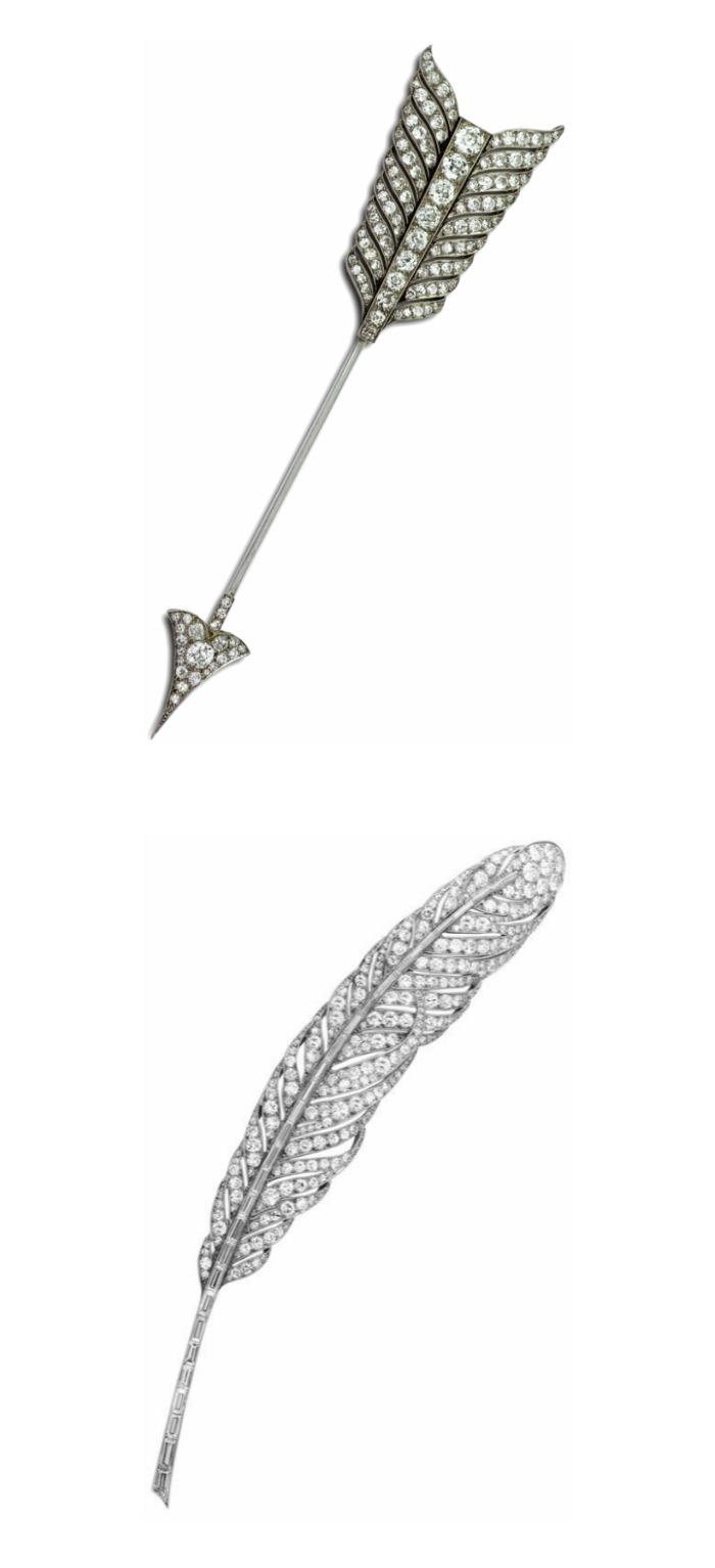 Two elegant Art Deco brooches, Van Cleef & Arpels.