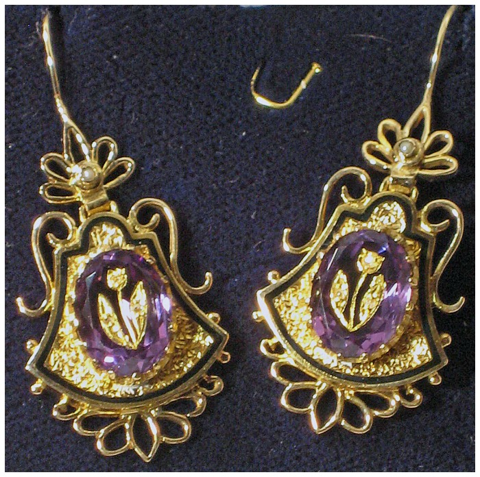 Victorian amethyst and gold earrings from The Antique Guild in Old Town Alexandria, VA.