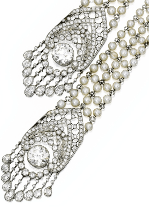 Zoom detail - Edwardian seed pearl and diamond sautoir, J.E. Caldwell. Circa 1905. Via Diamonds in the Library.