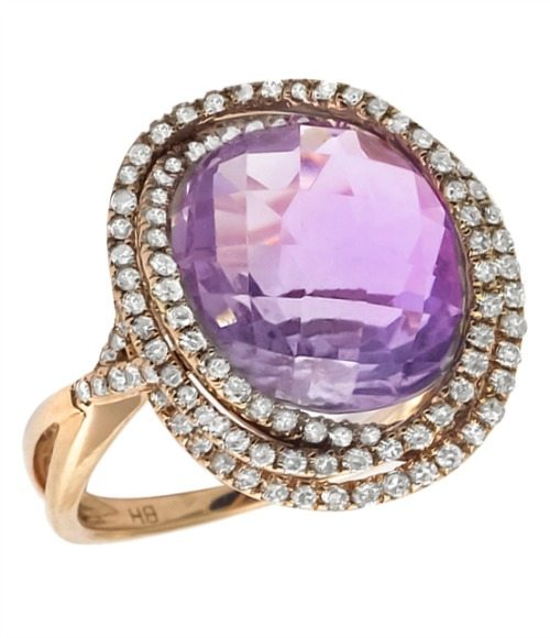 4.00 carat amethyst and diamond ring with 1 carat of diamonds sparkling on its rose gold setting. Via Diamonds in the Library.
