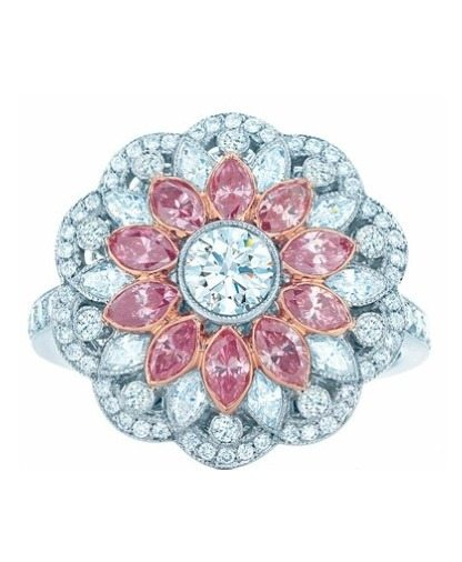 A Tiffany & Co. floral pink diamond and diamond ring from the 2013 Tiffany Blue Book Collection. Via Diamonds in the Library.