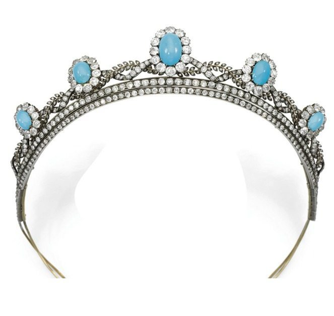 A beautiful antique turquoise cabochon and diamond tiara, circa 1880's.