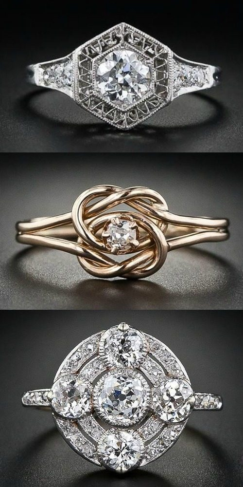 A trio of vintage and antique diamond rings. Yes, please.