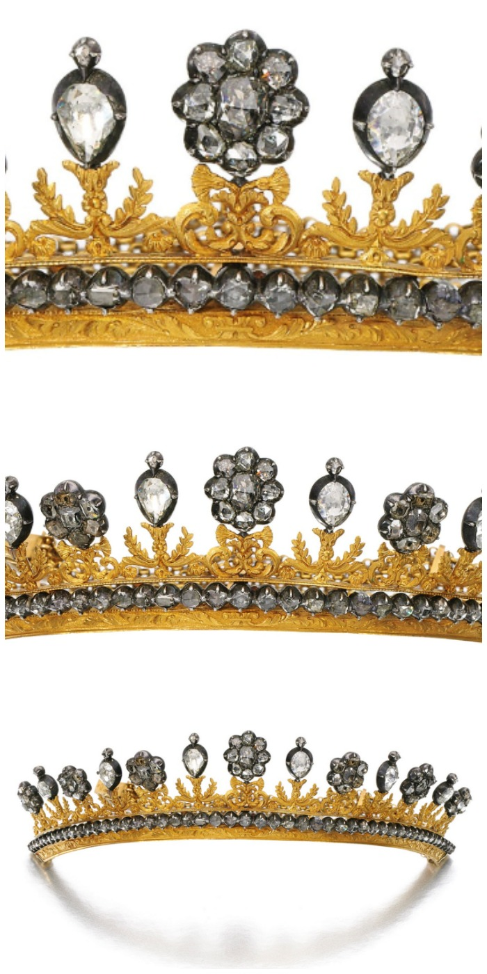 An antique chased gold and diamond tiara with rose and table cut diamonds; three levels of detail. From the early 19th century.