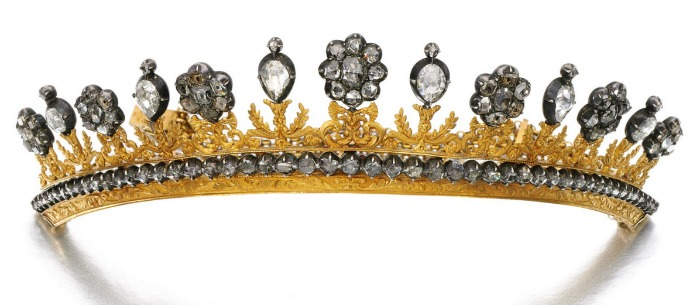 An antique chased gold and diamond tiara with rose and table cut diamonds. From the early 19th century.