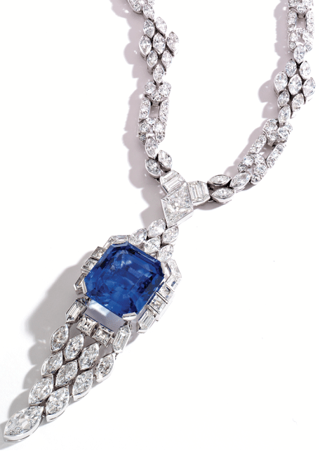Art Deco sapphire and diamond sautoir by Lacloche Frères, circa 1925. Via Diamonds in the Library.