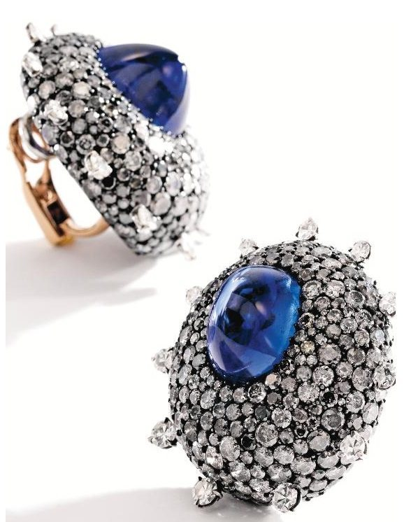 Blackened silver, 18k gold, sapphire, and diamond earrings by JAR, Paris. Via Diamonds in the Library.