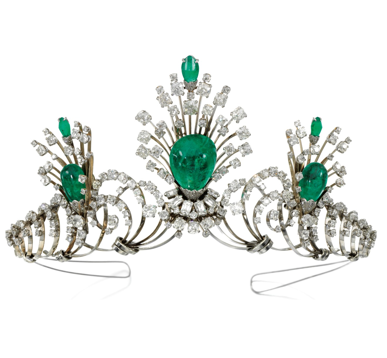 Convertible emerald and diamond tiara, with emerald drops that detach and can be worn as a brooch and earrings.