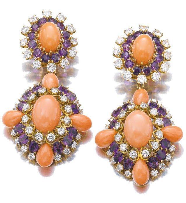 Coral, amethyst and diamond earrings, Van Cleef and Arpels.