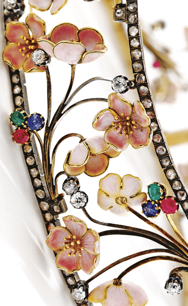 Detail - an Art Nouveau cherry blossom choker with diamonds, rubies, sapphires, and emeralds. By Emile Froment-Meurice, circa 1900. Via Diamonds in the Library.