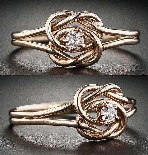 Double knot vintage diamond ring. The ring is 10 karat rose gold, with a small Swiss cut diamond in the center. Via Diamonds in the Library.