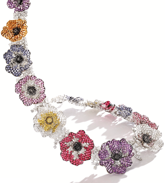 Michele della Valle necklace with 46.86 cts of diamonds with 7.45 cts of black, pink and yellow diamonds, with sapphires, amethysts, garnets, iolites, tourmalines, and spinel.