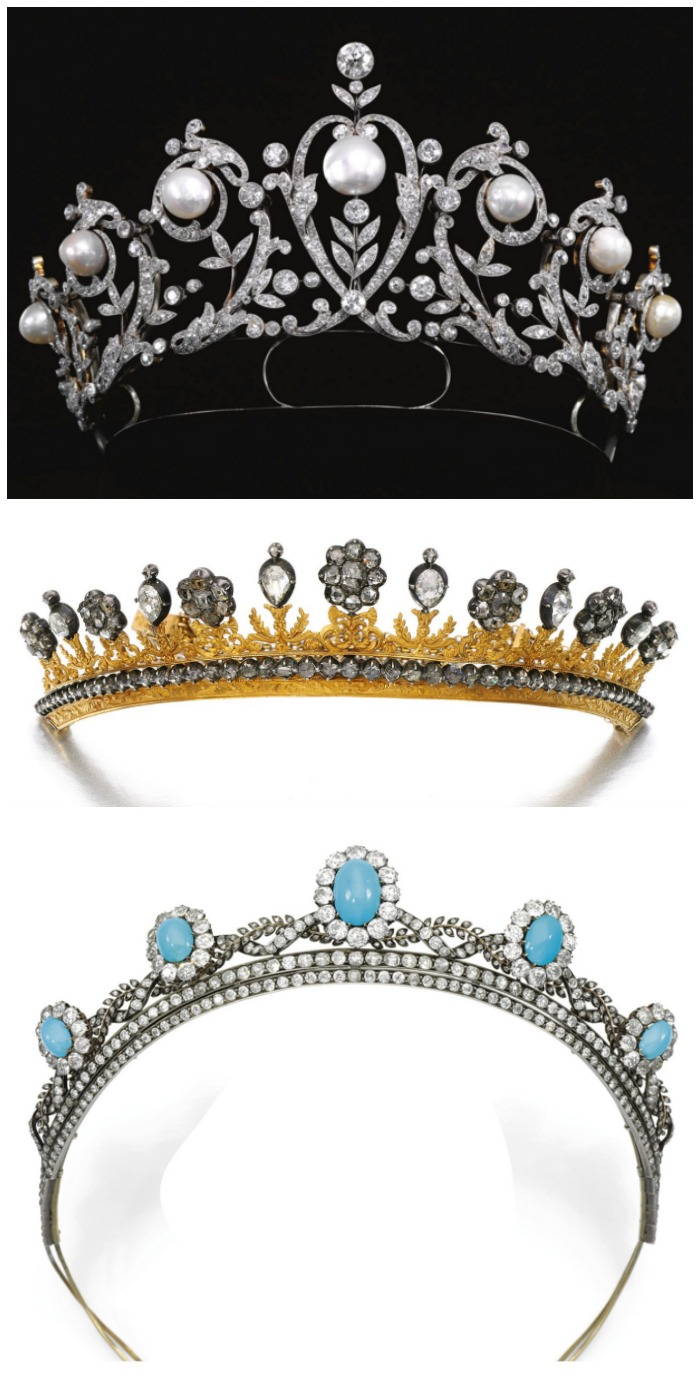 Three antique diamond tiaras; one with pearls, one with turquoise, and one in yellow gold.