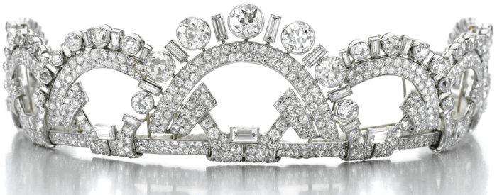 Antique Art Deco tiara by Boucheron, circa 1937. Designed as a series of interlocking geometric arches, set with circular-, single-cut and baguette diamonds, in platinum.