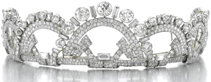 Antique Art Deco tiara by Boucheron, circa 1937. Designed as a series of interlocking geometric arches, set with circular-, single-cut and baguette diamonds, in platinum.