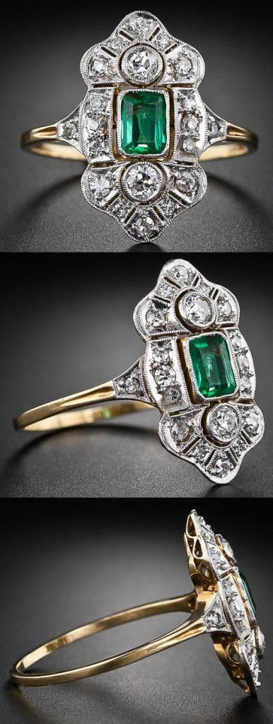 Art Deco emerald and diamond dinner ring in platinum and gold. Stunning from every angle. Via Diamonds in the Library.