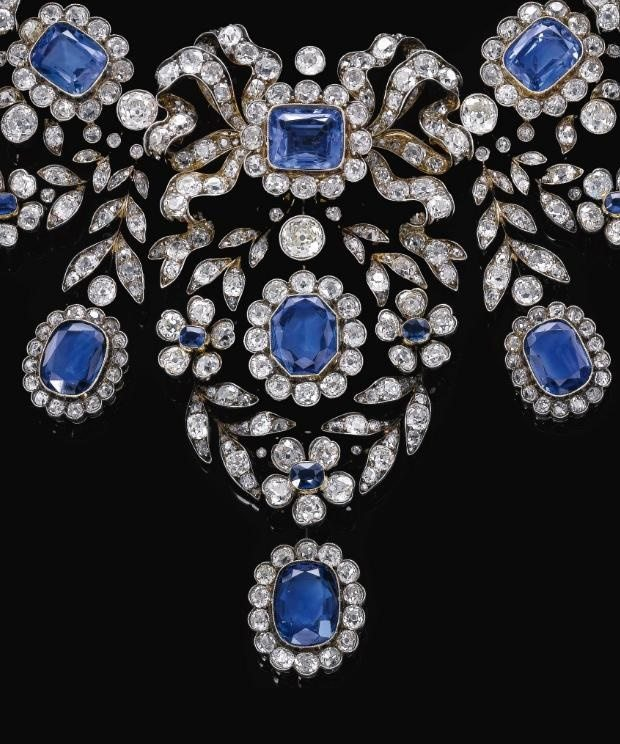 Closer view; antique sapphire and diamond necklace, late 19th century.  It detaches into 6 pieces so that the jewels can be worn separately.