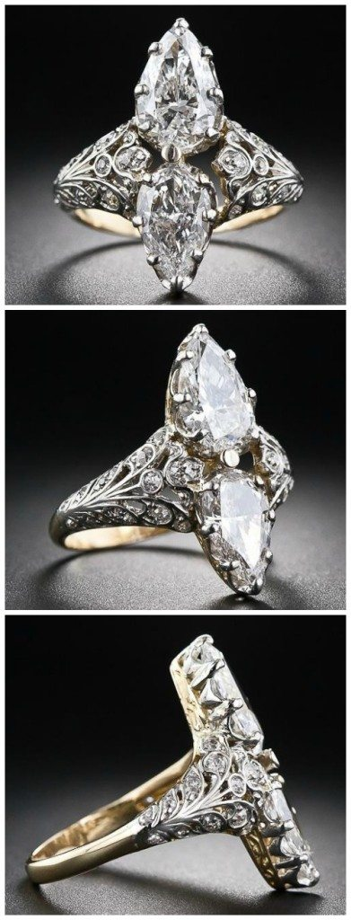 Edwardian twin-stone pear-shape diamond ring. This resplendent diamond ring, dating to the early 20th century, scintillates with a shining pair of pear-shaped diamonds.