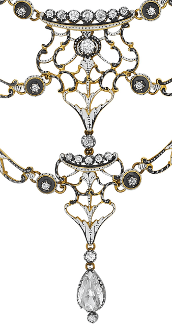 Enamel detail; antique black and white enamel and diamond necklace by Carlo Giuliano.