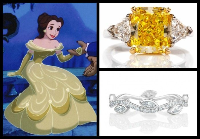 Engagement ring and wedding band picks for Belle from Beauty and the Beast