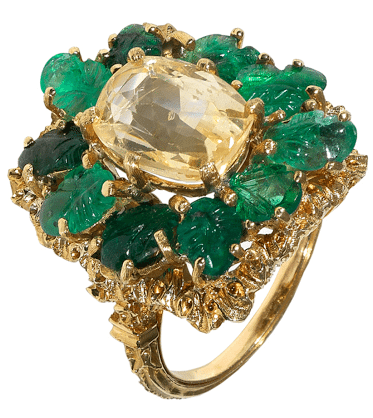 1980's Buccellati yellow sapphire and emerald cocktail ring in 18 k yellow gold