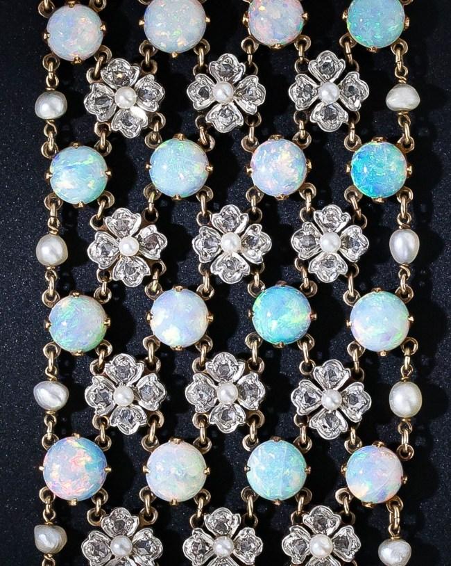 Detail: Belle Epoque opal and diamond choker necklace, circa 1900.