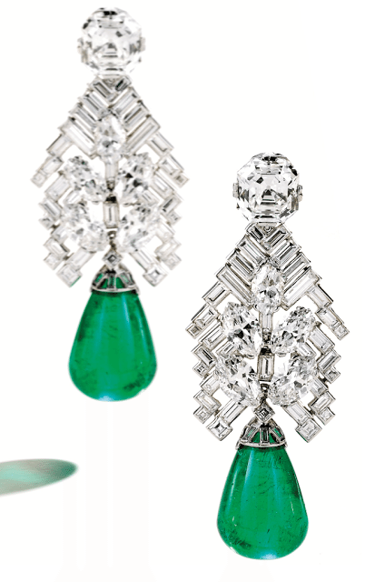 Magnificent Art Deco emerald and diamond earrings by Cartier, circa 1934.