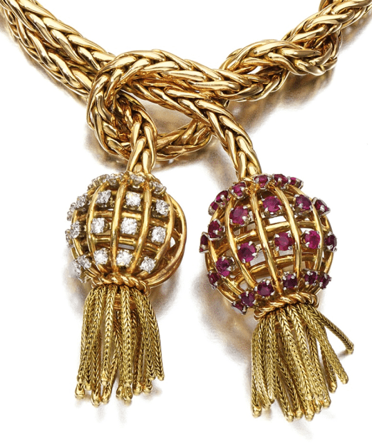 Tassel detail of a retro gold, ruby, and diamond tassel bracelet by Sterlé, circa 1950. Via Diamonds in the Library.